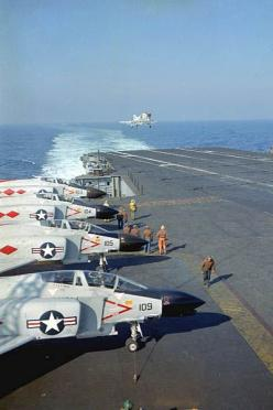 An F-4B of VF-101 comes aboard the USS  Enterprise during carrier qualifications off the east coast.: Airplanes Post Wwii, F 4 Phantom, Double Ugly, Italy Airplanes, F4Phantom