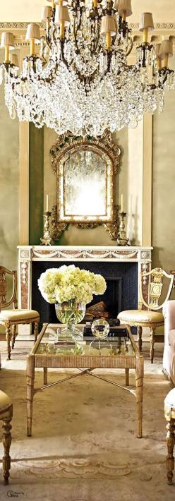Architecture Luxury Interiors | ColorDesire GOLD | Rosamaria G Frangini ||  Chateaux Interior |: Mirror, Lighting Chandeliers, Crystal Chandeliers, French Chateau Interior, Living Room, Luxury Interior, Sitting Room