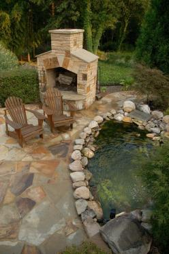 arnold-masonry-and-concrete by ARNOLD Masonry and Concrete, via Flickr: Fire Pits, Fire Place, Pond Ideas, Fireplaces, Koi Ponds, Firepit, Landscape