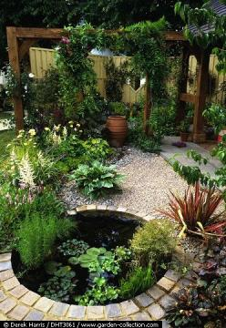 Backyard casual patio. Why not add a pond?  And the hardscape used is rather inexpensive!: Water Feature, Small Yard, Pond Idea, Backyard Casual, Small Garden Pond, Water Garden