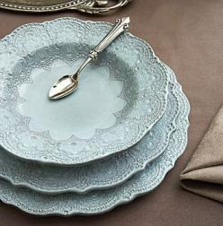 Beautiful Merletto Aqua Dinnerware inspired by handmade, antique Italian lace and handmade in Italy.: Table Settings, Blue, Dishes, Dinnerware, Pretty Dish, Kitchen, Merletto Aqua