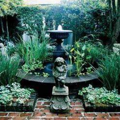 Behind brick walls you hear the trickle of the water fountains on the courtyards.: Orleans Courtyard, Ideas, Secret Garden, Water Features, Outdoor, Courtyard Gardens, Water Fountains, Garden Fountains, Small Garden