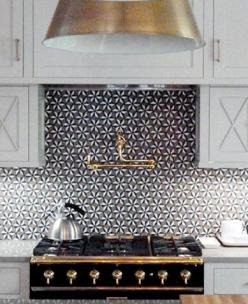 Black and gold range, gold pendant lighting and gold plumbing fixtures is a great contrast to the backsplah: Kitchens, Stove, Interior, White Kitchen, Idea, Back Splash, Kitchen Backsplash, Tile Backsplash