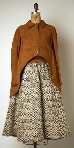 Bonnie Cashin suit in wool and leather. Fall/Winter 1970-1971. Gift of Helen and Phillip Sills Collection of Bonnie Cashin Clothes, 1979. The Metropolitan Museum of Art online collection.: 1970S Closet, F W 1970 71, Style, 1970 S, Clothes, American, Suits