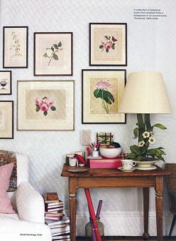 Botanical pretties...we must do something about that lamp, though.: Decor, Interior, Ideas, Botanical Prints, Living Room, Art, Rita Konig, Gallery Wall
