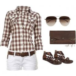 Brown checks w/white shorts, great sandals.  Need summer NOW.  (Summer Brown by styleofe on Polyvore): Bagnivirginia Loano, Brown Plaid, Colorful Outfits, White Shorts Summer Outfits, Country Summer Outfits, Country Outfits Summer Concert, Brown Outfit, C