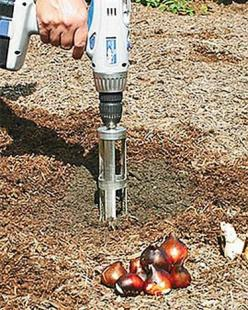 Bulb Popper - attaches to your drill for easy planting of bulbs!  Fantastic product!: Garden Ideas, Garden Tools, Bulb Bopper, Plants, Gardens, Bulbs, Gardening Tool