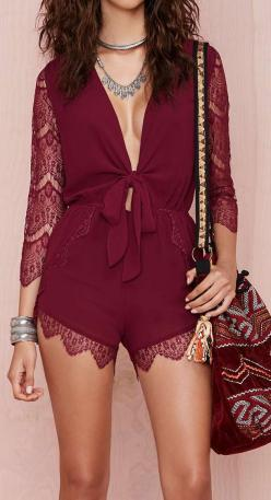 Burgundy lace romper: Fashion, Hippie, Dress, Night Outfit, Maroon, Boho Style, Burgundy