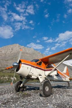 Bush pilot Dirk Nickisch of Coyote Air, on a landing strip in his De Havilland Beaver, along the Canning River, Arctic National Wildlife Ref...: Picture, Office, Bushplanes