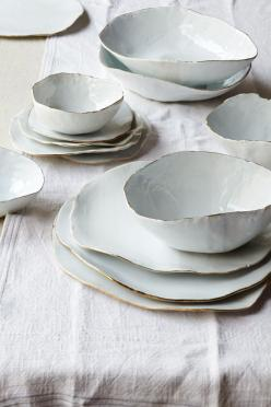 Ceramic bowls & plates with gold rims. By Laura Letinsky.: Form Ceramic, Handmade Ceramic, Kitchen