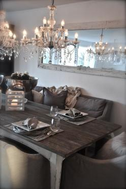 Chandeliers ,Big Mirror   ,Pillows And Dinner With Friends on a Beautiful Dining Table ,Ohhh Yeah .: Dining Rooms, Interior, Big Mirror, Idea, Cozy Dining, Diningroom, Wood Table, Dining Tables