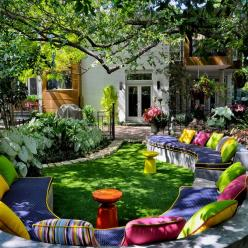 Cool, refreshing, relaxing and so inviting.  Beautiful Backyard.: Ideas, Outdoor Living, Color, Dream, Gardens, House, Backyard, Outdoor Spaces
