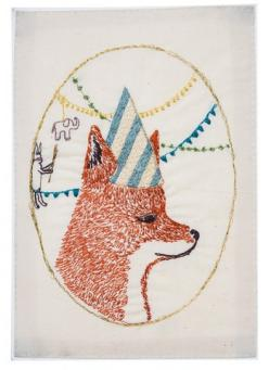 Coral and Tusk - birthday party fox embroidered stationery: Coral, Birthday Parties, Birthdays, Fox Embroidered, Embroidered Stationery, Tusk, Foxes, Birthday Party