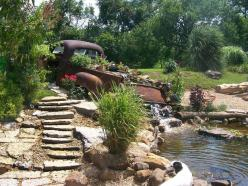 Couldn't make up my mind if this was trash to treasure, gardening or home improvement, but love it!: Water Feature, Garden Ideas, Yard, Old Trucks, Outdoor, Waterfall, Gardens, Gardening