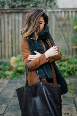 cozy layers and a black oversized tote http://rstyle.me/n/m96tg4ni6: Winter Hair Color, Hair Colors, Style, Fall Hair Color For Brunette, Outfit, Brunette Highlight, Fall Winter, Fall Color