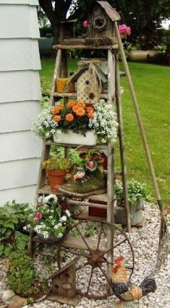 Crafty finds for your inspiration! No. 2 | Just Imagine – Daily Dose of Creativity: Garden Ideas, Wooden Ladder, Old Ladder, Yard, Ladders, Outdoor, Gardens, Ladder Idea, Flower