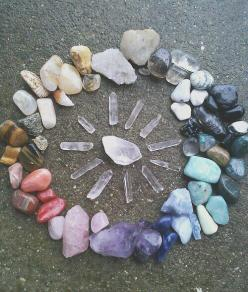 Crystal Grid | The purpose of a crystal grid is to tap into the Universal Life Force; by combining multiple crystals, generally in a mandala-type shape, you access more energy and power from the crystals.: Crystals, Gemstones, Crystal, Crystal And Stone,