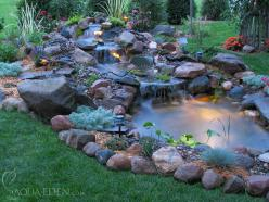 Definitely a water feature with a Koi pond. Not sure if it'll work in Chicago, though.: Water Feature, Pond Design, Pond Ideas, Water Gardens, Backyard Ponds, Waterfall, Small Backyard, Garden Ponds