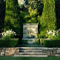 Design Chic: Garden Fountains  fabulous focal points!  on axis!  and make sure you have two!!: Water Feature, Garden Design, Design Chic, Garden Statuary Fountains, Pool, Outdoor, Fountain Hulsey Gardens Jpg, Garden Fountains, Garden