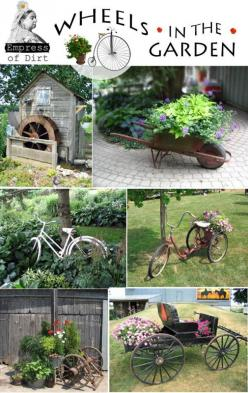 DIY Garden Art: Wheels In The Garden.  For more gardening ideas and tips contact your Rapid City Nursery, at www.jollylane.com/greenhouse.: Garden Ideas, Garden Art, Yard Art, Gardening Ideas, Gardens, Bike Wheels, Diy Garden