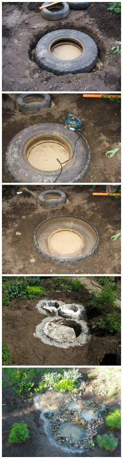 Diy : Recycled tires pond: Recycled Tyres, Tires Pond, Ponds, Garden Ideas, Water Features, Outdoor, Recycled Tires, Tire Pond