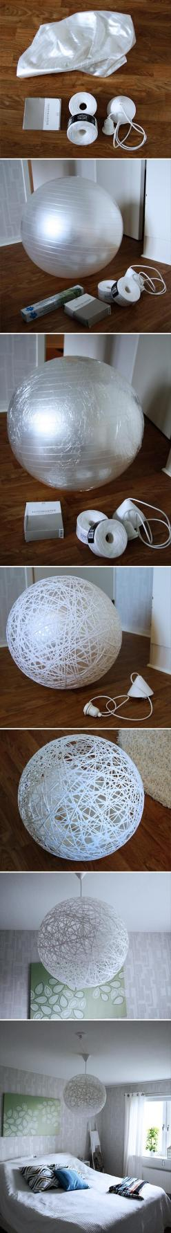 Dump A Day Fun Do It Yourself Craft Ideas - 45 Pics: Idea, Diy Crafts, Exercise Ball, Light Fixture, Lampshade, Diy Light, Diy String