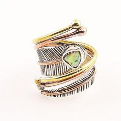 Ethiopian Opal Rough Three Tone Sterling Silver Adjustable Wrap Ring – Keja Designs Jewelry: Adjustable Wrap, Silver Adjustable, Sterling Silver, Opal Rough, Rough Three