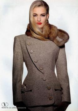 "Feminine but strong, glamorous yet classy. Everything elegant and from a higher class.  ""Fashions fade, style is eternal."" - Yves Saint Laurent: Fashion, Karen O'Neil, Valentino, Style, Coats Jackets, Karen Mulder, Winter Coats"