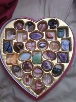 Forget the chocolates, I'll take a box full of gems: Crystals, Gemstone, Chocolate Boxes, Gift Ideas, Healing Stones, Storage Idea, Valentines Day, Rock, Valentine S