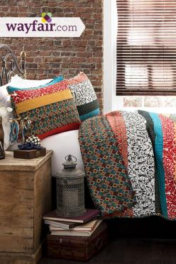 Free spirited, untamed, rustic and yet chic, this quilt set is a perfect piece of modern time creativity. Get up to 70% on Wayfair!: