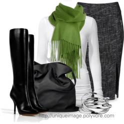 Fringe Scarf, singular pop of green: Fashion, Outfit Ideas, Style, Clothes, Dress, Winter Outfits, Pencil Skirts, Work Outfits, Fall Winter