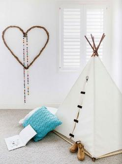 From hello lovely studio http://www.hellolovelystudio.com/2014/03/soothing-lovely-kids-rooms.html: Ideas, Heart, Style, Kidsroom, Teepees, Playroom, Types, Kids Rooms