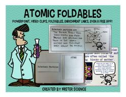 Full atoms and atomic structure lesson! Includes 35 slide PowerPoint with embedded video clips, PDF version of PowerPoint, two student foldables, presenter notes and talking points, lesson goals to post in classroom, many links to additional resources, an
