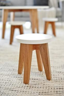 Gather Kids - wood and white stool: Kids Furniture, White Stool, Gather Kids, Stools Kid, Kids Stools, Kids Rooms