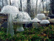 glass toadstools for the garden using a vase & bowl ~ Use E-6000 glue found at your craft store.put solar lights inside: Crystal Mushroom, Vase, Bowl, Craft, Garden Art, Gardens, Mushrooms