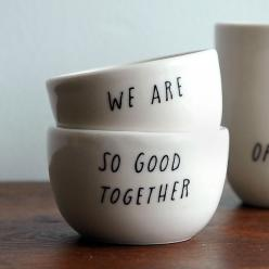 good together: Sweet, Cups, Stuff, Gift Ideas, Pigeon When, Things, Diy, Wedding Gifts, Bowls