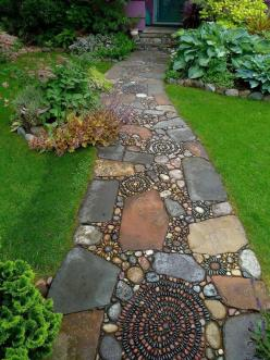 Gorgeous+walkaway!+(via+#spinpicks): Gardenpath, Ideas, Yard, Garden Paths, Outdoor, Mosaic