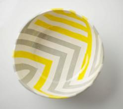 grey & yellow zag bowl by upintheairsomewhere #upintheairsomewhere #etsy #zigzag: Yellow Zag, Chevron Bowl, Etsy, Grey Yellow, Zag Bowl, Gray, Design, Bowls