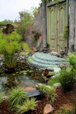 Gypsy Purple home ... I could really dig this is a part of my outdoor oasis ...: Doors, Secret Gardens, Garden Ideas, Water Gardens, Water Features, Garden Landscaping, Backyard