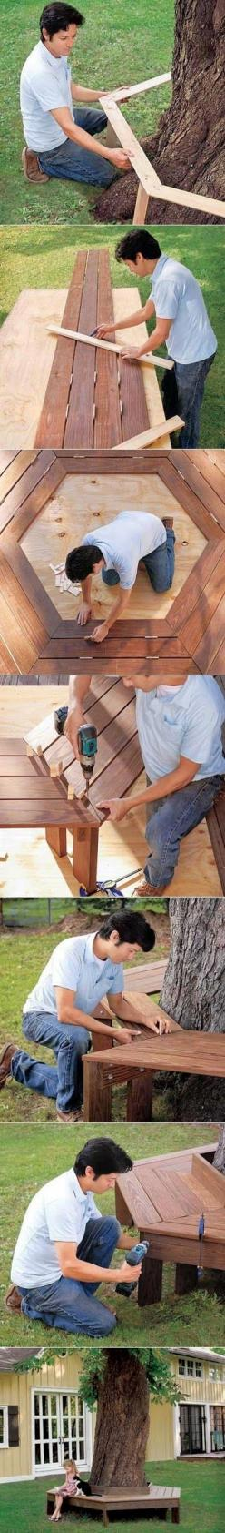 How to build a bench around a tree Follow us on Facebook here: http://www.facebook.com/diyncrafts: Garden Outdoor, Front Yard, Diy Outdoor, Build A Bench, Gardening Outdoor, Backyard, Tree Bench, How To Build