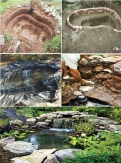 How to Build a Pond: Pond Design, Pond Ideas, Pond Step, Duck Pond, Duck House, Garden Ponds, How To Build