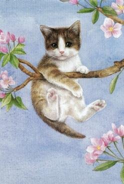 I found this lovely illustration of this kitty up a tree on an old calander.  This was May.: Cats, Cat Art, Picture, Color, Calander Cat, Artist, Photo, Drawing, Animal