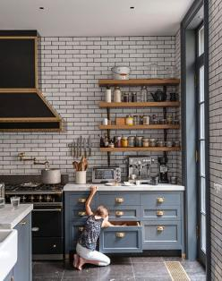 I love the mix of materials and colours in this kitchen.  The black rangehood works beautifully with the charcoal grout on the subway tiled splashback.: Gorgeous Kitchen, Kitchen Subway Tile