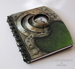I love the steampunk style of this book and the colour looks amazing. Made by diarmentcreations.: Notebook Fantasy, Colour, Style Book, Steampunk Styled Note Book, Steampunk Notebook, Nice Notebook, Steampunk Book, Cent Books