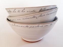 I love these bowls, they are so simple and so beautiful..best of all, handmade: Decor, Ceramic Bowls, Ideas, Letter Bowls, Ceramics, Design, Love Letters