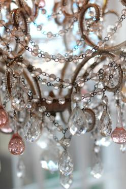 I think I have a sick obsession with chandeliers...I will have one in every room of my house: Shabby Chic, Chandeliers, Beautiful, Pretty Things, Pink, Sparkle, Light