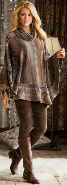 I want a poncho like the one from the Walking Dead.  This is pretty close.: Fashion, Style, Brown Legging, Fall Outfit, Fall Winter