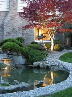 I want a small pond in my front yard! So pretty! ~ Landscape Design, Pictures, Remodel, Decor and Ideas - page 110 ~: Water Gardens, Backyard Ponds, Landscape Design, Design Ideas, Outdoor, Front Yard, Asian Landscape