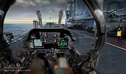 Image of a Harrier pilot's view as he prepares to take off from the aircraft carrier HMS Ark Royal.: Aviation, Aircraft, Photo, Jet, Military