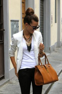 Instantly elevate your basic white tee with a blazer and top knot bun. Accessorize with a beaded statement necklace and oversized sunnies.: Fashion, White Blazers, Statement Necklaces, White Tee, Style, Bag, Work Outfit, Spring Outfit